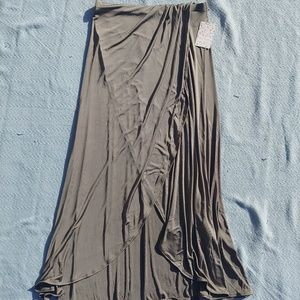 NWT Free People Army Green Faux Wrap Maxi Skirt M